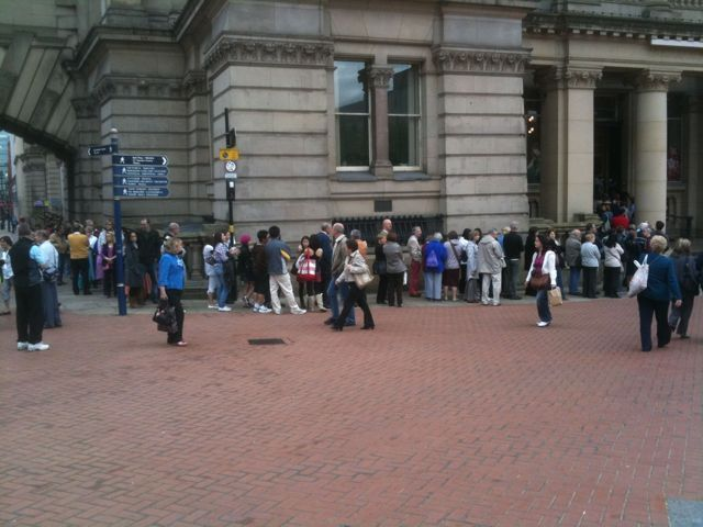 Queuing outside Birmingham museum